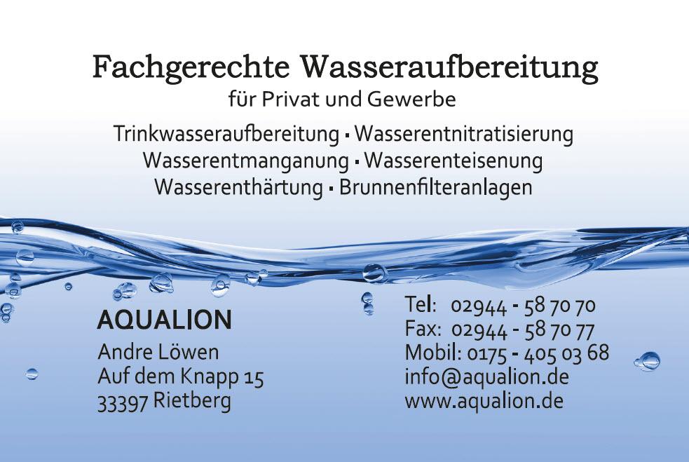 Aqualion Visitenkarte Rueckseite